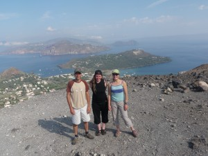 Barry, Helen and Justine on the volcano.