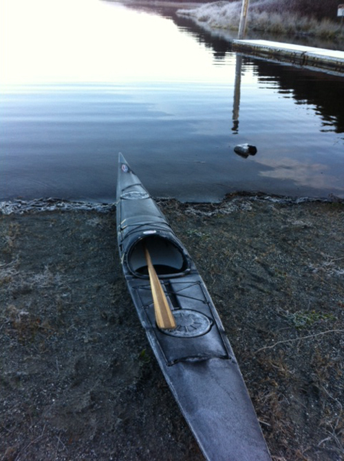 A frozen kayak.