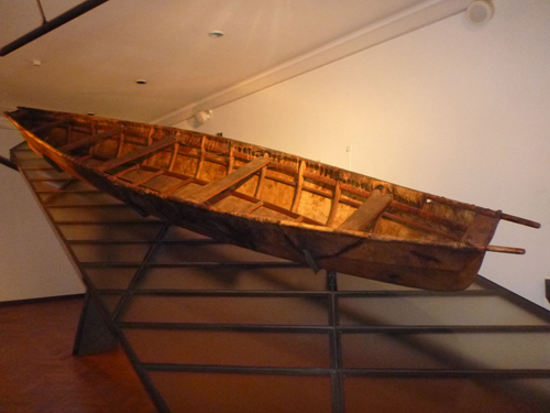 An Umiak on display at the Natural History Museum.