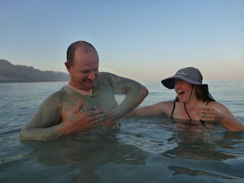 The mud in the Dead Sea is fantastic for the skin.