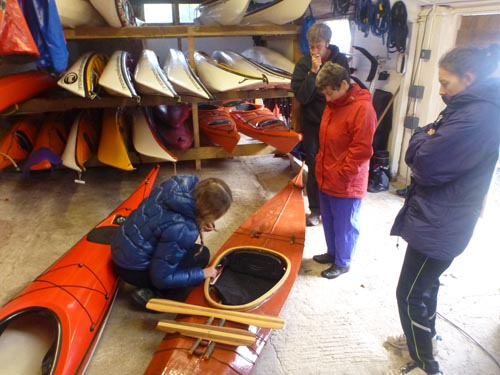 We brought the class indoors to talk about skin-on-frame kayaks and Greenland paddles.
