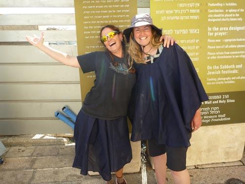Hadas and I were given coverings at the Western Wall. Bare shoulders and knees are not permitted.