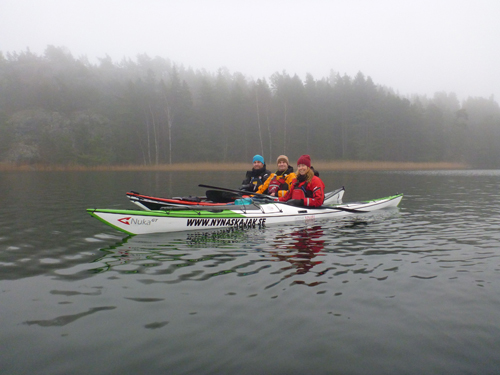A foggy day on the water.