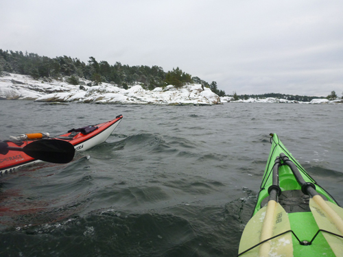 Paddling around snow and ice covered rocks was a magical experience.