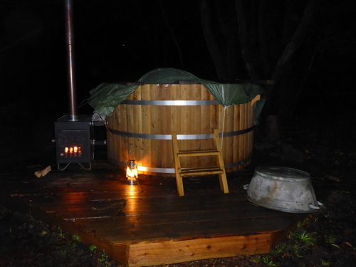 For those that were up long enough, a wood burning hot tub awaited.