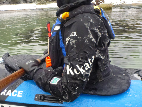 Icy air and wind chill contributed to frozen kayaks and gear.