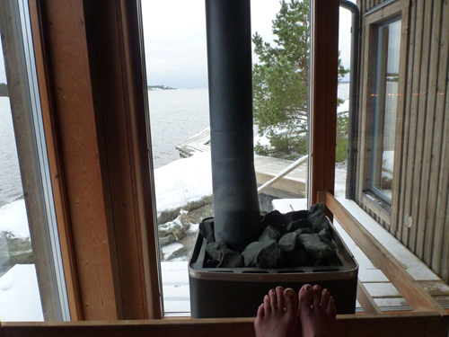 After one paddle, Mark and I headed to a spa to sit in hot tubs, saunas and steam rooms while enjoying the icy view.