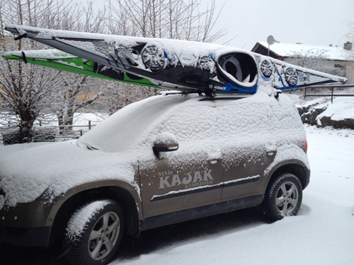 Snow and kayaks are a great combination.