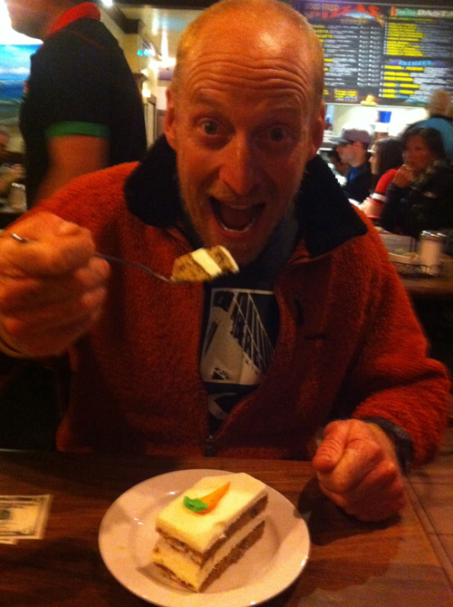 It's always great to catch up with everyone. Here Ben Lawry enjoys dessert after a busy day on the water.