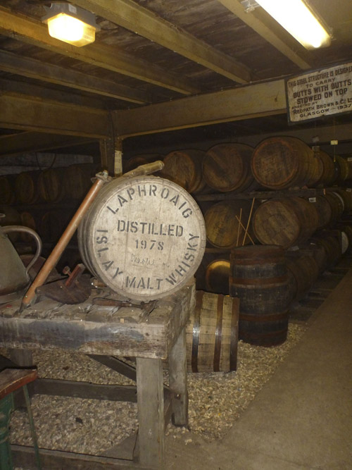 Whiskey is matured in oak barrels.