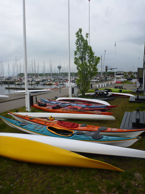 Colorful rows of kayaks are always a good indication that you're in the right place.