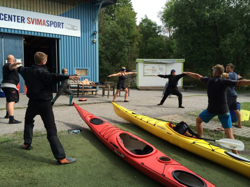 All of the rolling classes started with Yoga for Paddlers.