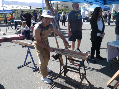 Michael Morris does a paddle carving demo.