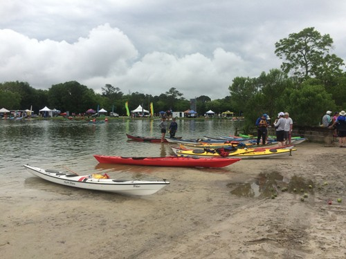 It's always fun to watch kayaks show up at the start of an event.