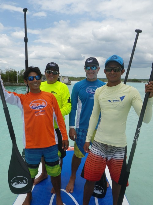 It was a treat to paddle across the lagoon on a five person stand up paddleboard.