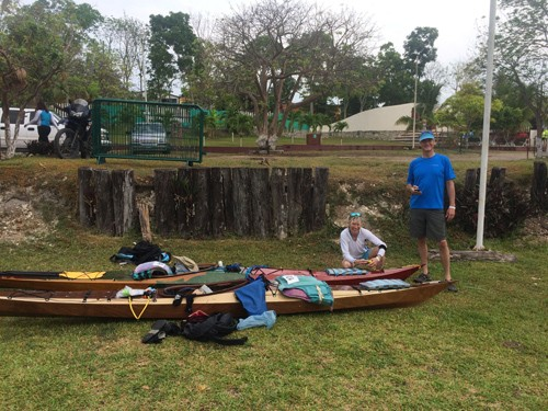 Steve and Lise prepare to race kayaks built by Gunnar.