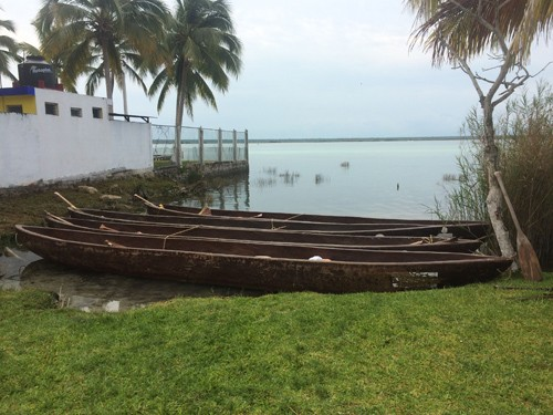 The Mayan canoes were gorgeous, and each of them held ten paddlers.