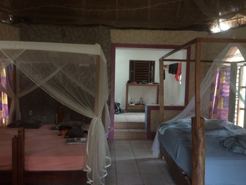 The thatch-roofed cabins are made out of native materials. Jaqueline worded it well by saying it's like luxury camping.