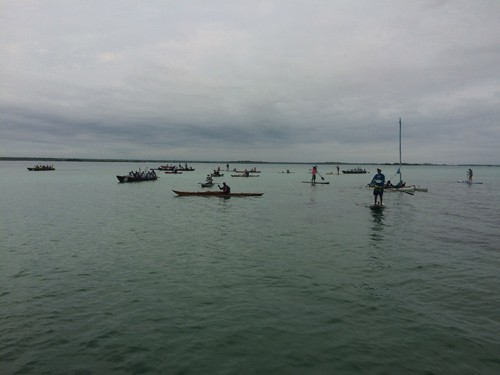 The kayaks and canoes were first to start the race.