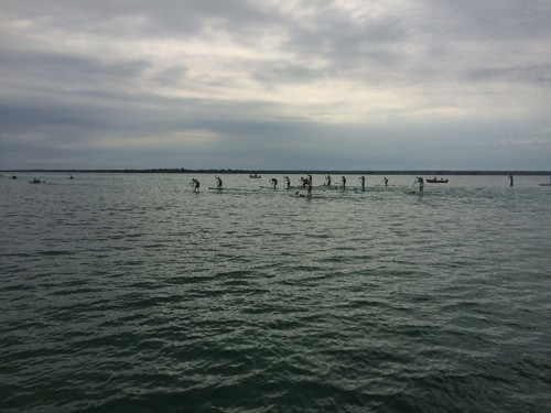 The stand up paddleboards started just seconds later.