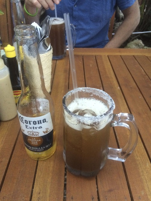 This michelada is a Mexican drink made with beer, lime juice and assorted sauces, spices and peppers. I didn't mean to order it, but I was glad I did :-)