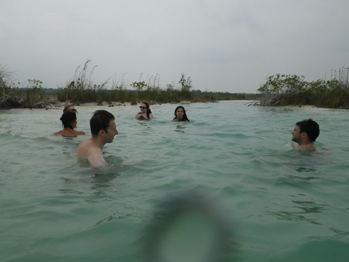 It was very relaxing to swim in the warm water.