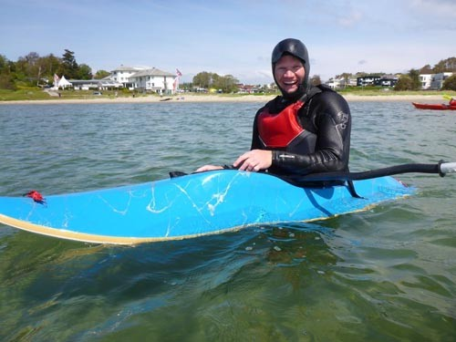 Torstein was stoked on learning to roll his surf kayak.
