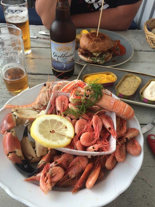 Grebbestad is known for its shellfish, and we enjoyed lots of it.