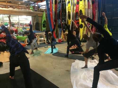 We did Yoga for Paddlers before every rolling class.