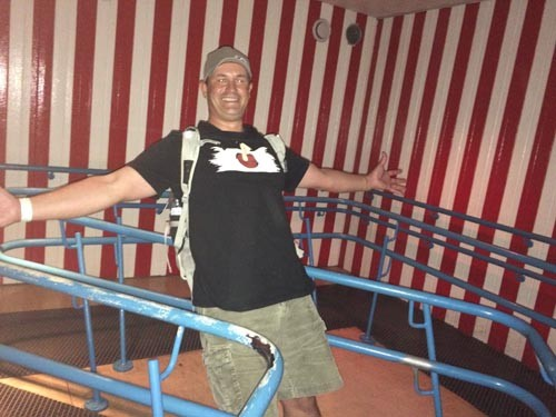 We also went to Grona Lund, an amusement park in Stockholm. Here Mark enjoys optical illusions in the fun house.