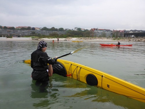 The rolling classes took place on a very popular beach across the street from the kayak club.
