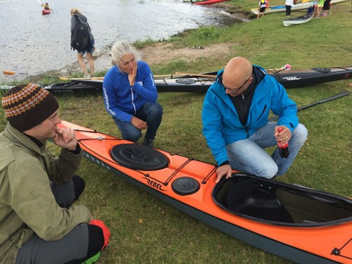 A few people tried out Rebel Kayak's newest kayak, The Husky, which we're using as part of the tour.